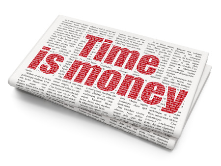 Time concept: Pixelated red text Time Is money on Newspaper background, 3D rendering Stock Photo - 78929070