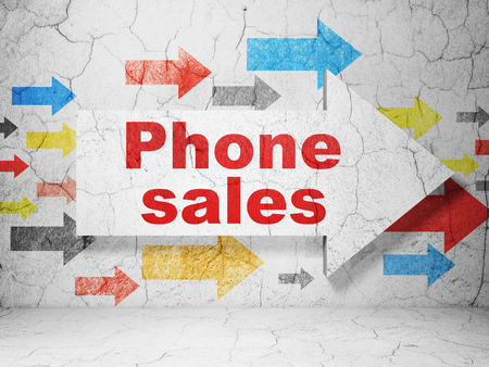 vintage telephone: Advertising concept:  arrow with Phone Sales on grunge textured concrete wall background, 3D rendering