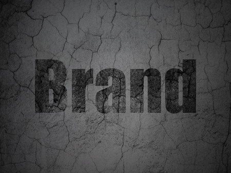 weathered: Advertising concept: Black Brand on grunge textured concrete wall background