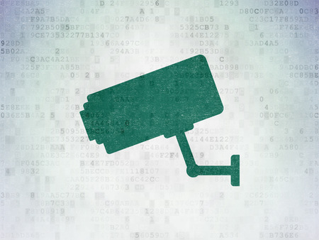 Security concept: Painted green Cctv Camera icon on Digital Data Paper background