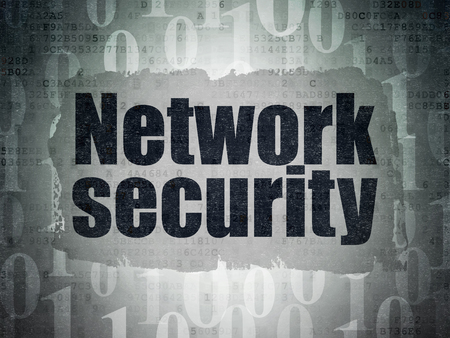 paper pin: Security concept: Painted black text Network Security on Digital Data Paper background with   Binary Code