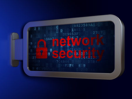 Privacy concept: Network Security and Closed Padlock on advertising billboard background, 3D rendering