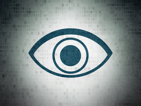 paper pin: Privacy concept: Painted blue Eye icon on Digital Data Paper background
