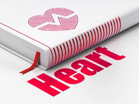 Healthcare concept: closed book with Red Heart icon and text Heart on floor, white background, 3D rendering