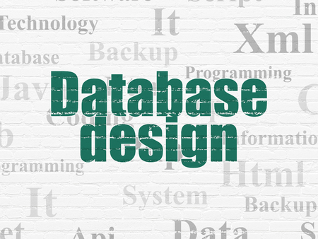 css: Programming concept: Painted green text Database Design on White Brick wall background with  Tag Cloud Stock Photo