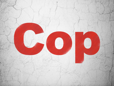 Law concept: Red Cop on textured concrete wall background