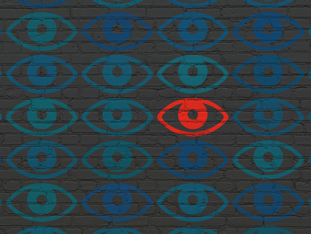 Privacy concept: rows of Painted blue eye icons around red eye icon on Black Brick wall background Stock Photo