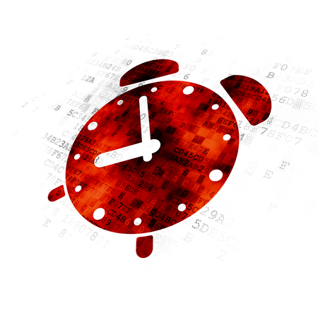 pause icon: Timeline concept: Pixelated red Alarm Clock icon on Digital background Stock Photo