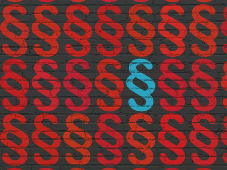 Law concept: rows of Painted red paragraph icons around blue paragraph icon on Black Brick wall background