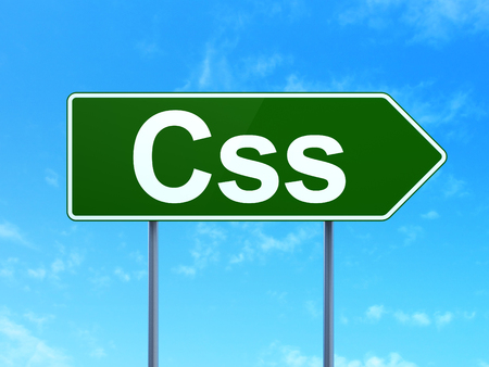 css: Software concept: Css on green road highway sign, clear blue sky background, 3D rendering