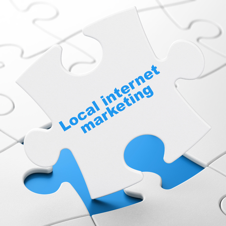 Marketing concept: Local Internet Marketing on White puzzle pieces background, 3D rendering Stock Photo