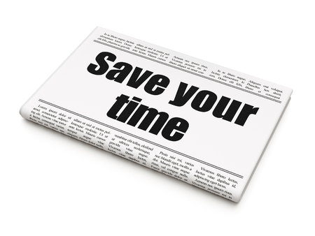 Timeline concept: newspaper headline Save Your Time on White background, 3D rendering
