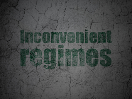 regimes: Political concept: Green Inconvenient Regimes on grunge textured concrete wall background Stock Photo