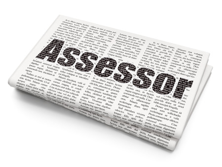 Insurance concept: Pixelated black text Assessor on Newspaper background, 3D rendering Imagens