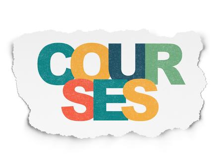 Concepto de educación: Pintado de texto multicolor Cursos sobre fondo de papel rasgado