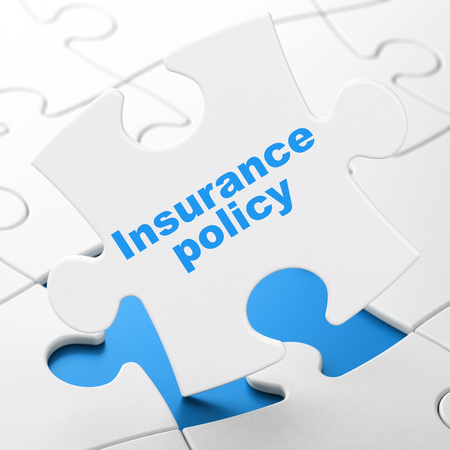 Insurance concept: Insurance Policy on White puzzle pieces background, 3D rendering Stock Photo