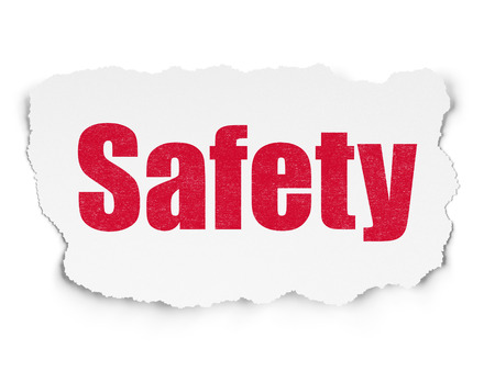 paper pin: Safety concept: Painted red text Safety on Torn Paper background with Scheme Of Binary Code Stock Photo
