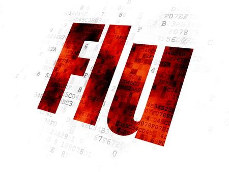 pixelated: Health concept: Pixelated red text Flu on Digital background Stock Photo