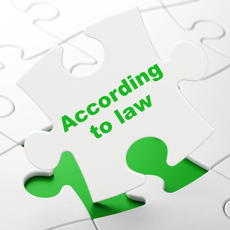 Law concept: According To Law on White puzzle pieces background, 3D rendering