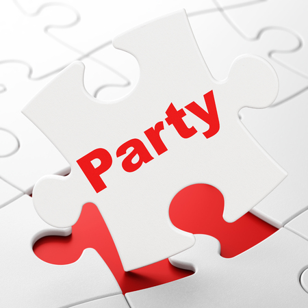 Holiday concept: Party on White puzzle pieces background, 3D rendering Stock Photo