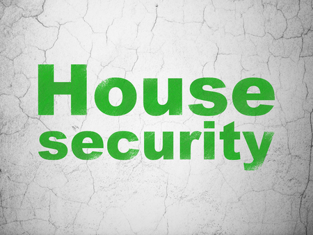 Privacy concept: Green House Security on textured concrete wall background