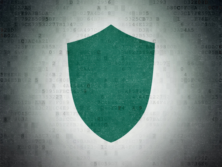 paper pin: Privacy concept: Painted green Shield icon on Digital Data Paper background Stock Photo