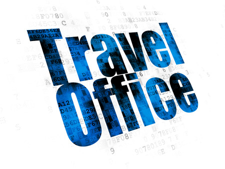 Travel concept: Pixelated blue text Travel Office on Digital background Stock Photo