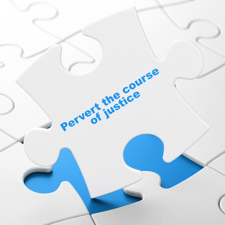 Law concept: Pervert the course Of Justice on White puzzle pieces background, 3D rendering