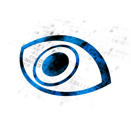 Safety concept: Pixelated blue Eye icon on Digital background Stock Photo