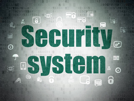 paper pin: Security concept: Painted green text Security System on Digital Data Paper background with  Hand Drawn Security Icons Stock Photo