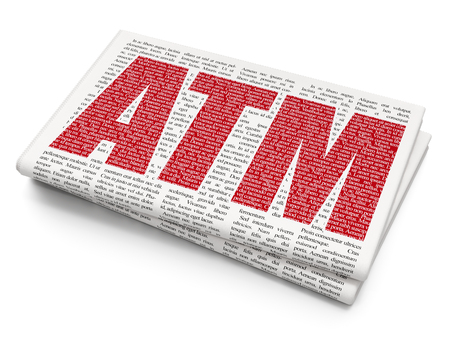 Currency concept: Pixelated red text ATM on Newspaper background, 3D rendering