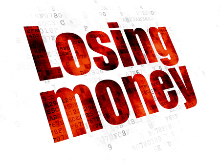 losing money: Banking concept: Pixelated red text Losing Money on Digital background