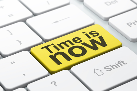 Time concept: computer keyboard with word Time is Now, selected focus on enter button background, 3D rendering Stock Photo