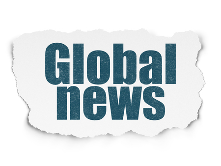 urgent announcement: News concept: Painted blue text Global News on Torn Paper background with  Hand Drawn News Icons