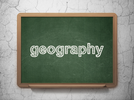 information age: Learning concept: text Geography on Green chalkboard on grunge wall background, 3D rendering Stock Photo