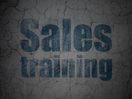 Marketing concept: Blue Sales Training on grunge textured concrete wall background