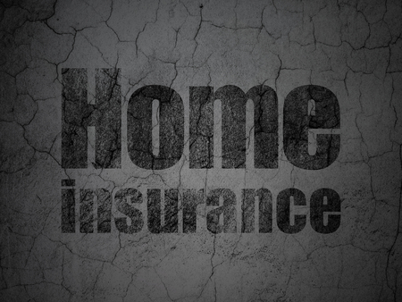 Insurance concept: Black Home Insurance on grunge textured concrete wall background