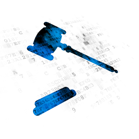 data protection act: Law concept: Pixelated blue Gavel icon on Digital background