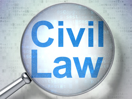 data protection act: Law concept: magnifying optical glass with words Civil Law on digital background, 3D rendering Stock Photo