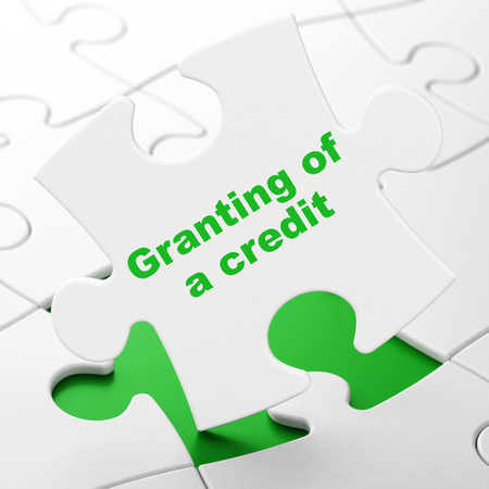 granting: Money concept: Granting of A credit on White puzzle pieces background, 3D rendering