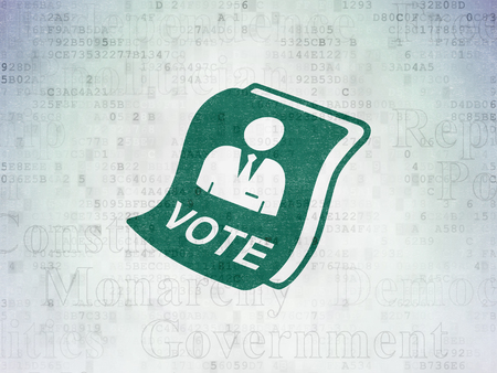 agitation: Political concept: Painted green Ballot icon on Digital Data Paper background with  Tag Cloud