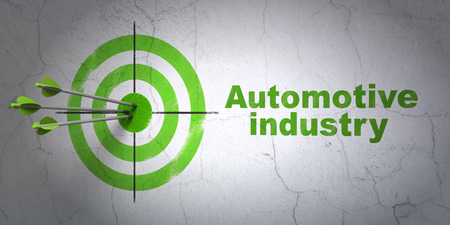 hit tech: Success Manufacuring concept: arrows hitting the center of target, Green Automotive Industry on wall background, 3D rendering
