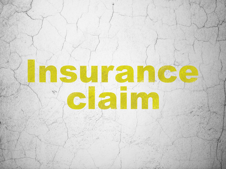 dark ages: Insurance concept: Yellow Insurance Claim on textured concrete wall background