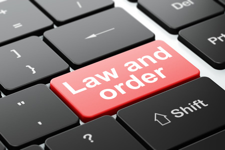 Law concept: computer keyboard with word Law And Order, selected focus on enter button background, 3D rendering