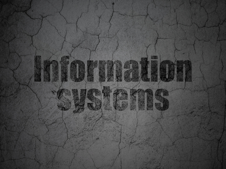 information age: Information concept: Black Information Systems on grunge textured concrete wall background