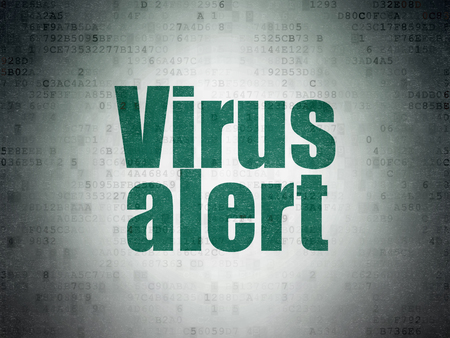 privat: Safety concept: Painted green word Virus Alert on Digital Data Paper background