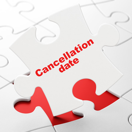 Time concept: Cancellation Date on White puzzle pieces background, 3D rendering