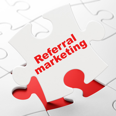 Marketing concept: Referral Marketing on White puzzle pieces background, 3D rendering