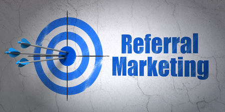 Success marketing concept: arrows hitting the center of target, Blue Referral Marketing on wall background, 3D rendering
