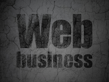 Web development concept: Black Web Business on grunge textured concrete wall background